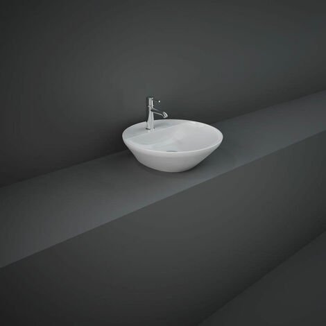 RAK Variant Round Countertop Wash Basin 420mm Wide 1 Tap Hole - Alpine White