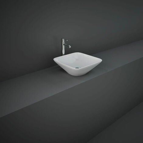 RAK Variant Square Countertop Wash Basin 360mm Wide 0 Tap Hole - Alpine White