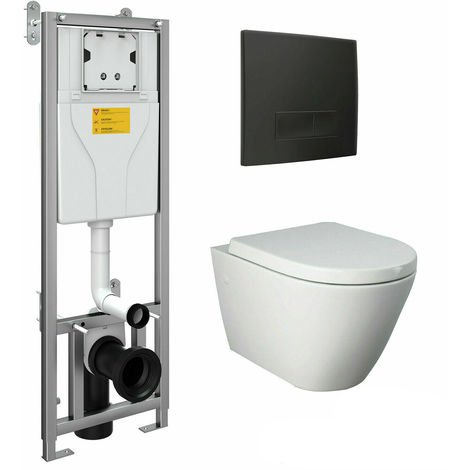 RAK Wall Hung Toilet Rimless Pan & Seat, Concealed Cistern Support Frame WC Unit
