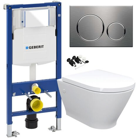 RAK Wall Hung Toilet Rimless Pan, Seat GEBERIT Concealed Cistern Frame WC Unit