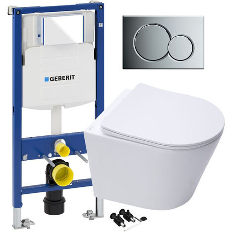 RAK Wall Hung Toilet Rimless Pan, Seat GEBERIT Concealed Cistern Frame WC Unit - Gloss Chrome Flush Plate