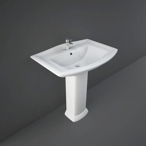 RAK Washington 760mm Basin with 1 Tap Hole and Full Pedestal