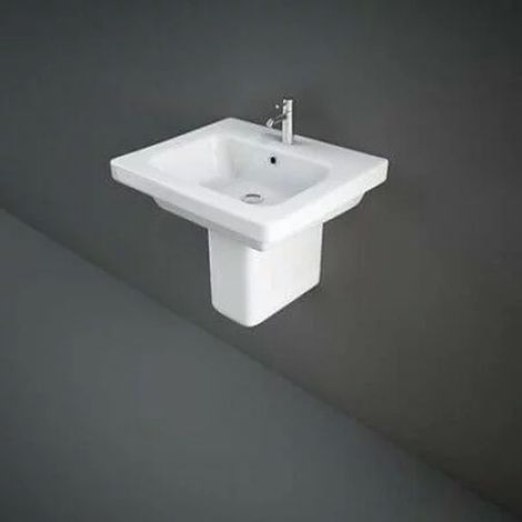 RAK Washington 760mm Basin with 1 Tap Hole and Semi Pedestal