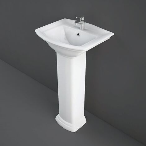 RAK Washington Basin with Small Full Pedestal 460mm Wide - 1 Tap Hole