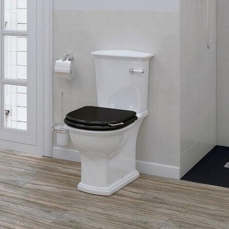 RAK Washington Close Coupled Toilet with Horizontal Outlet & Lever Cistern - Black Seat