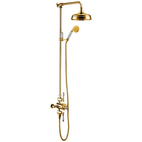 RAK Washington Exposed Mixer Shower with Shower Kit and Fixed Head - Gold