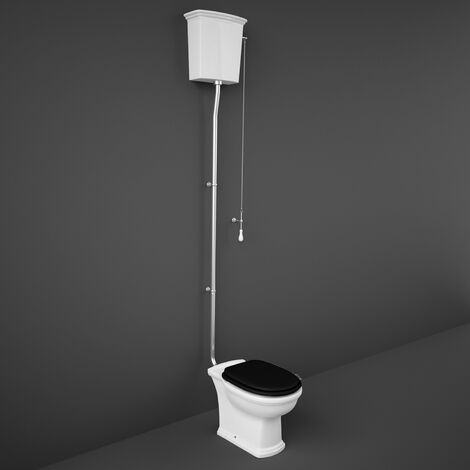 RAK Washington High Level Toilet with Horizontal Outlet - Black Soft Close Wood Seat