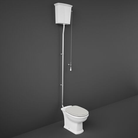 RAK Washington High Level Toilet with Horizontal Outlet - Greige Soft Close Wood Seat