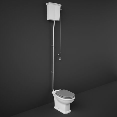RAK Washington High Level Toilet with Horizontal Outlet - Grey Soft Close Wood Seat
