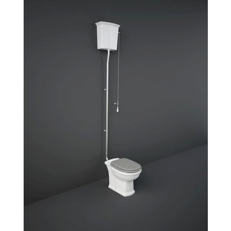 RAK Washington High Level Toilet with Matt Cappuccino Wooden Soft Close Seat and Flush Pipe Kit - WASPAKHL514