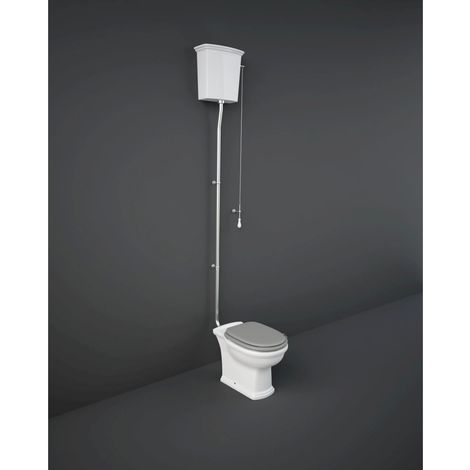 RAK Washington High Level Toilet with Matt Greige Wooden Soft Close Seat and Flush Pipe Kit - WASPAKHL505