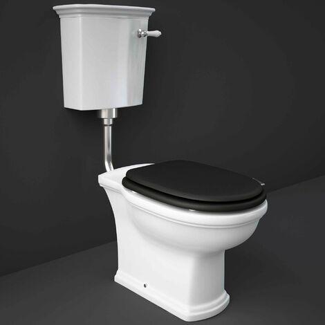 RAK Washington Low Level Toilet with Horizontal Outlet - Black Soft Close Wood Seat