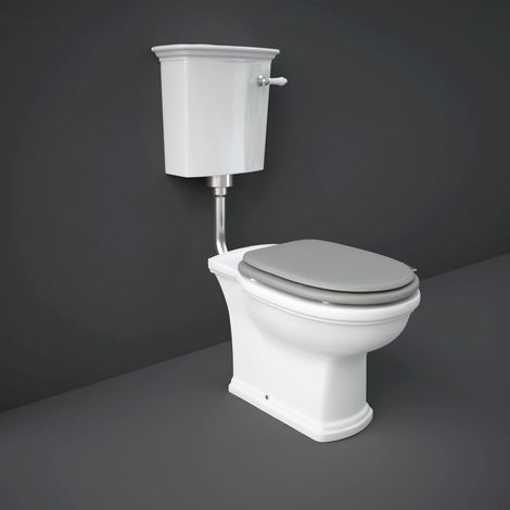 RAK Washington Low Level Toilet with Matt Greige Wooden Soft Close Seat and Flush Pipe Kit - WASPAKLL505
