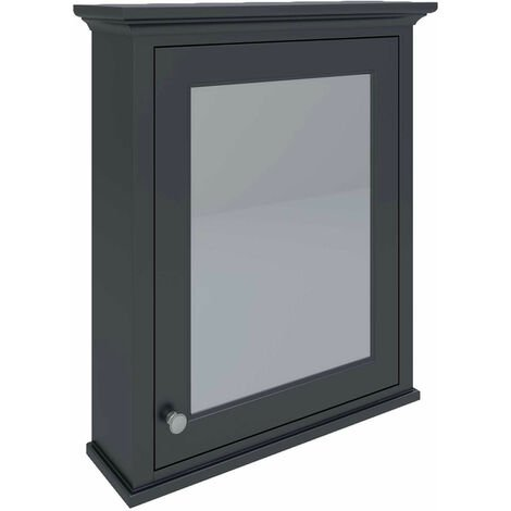 RAK Washington Mirrored Bathroom Cabinet 650mm W x 750mm H - Black