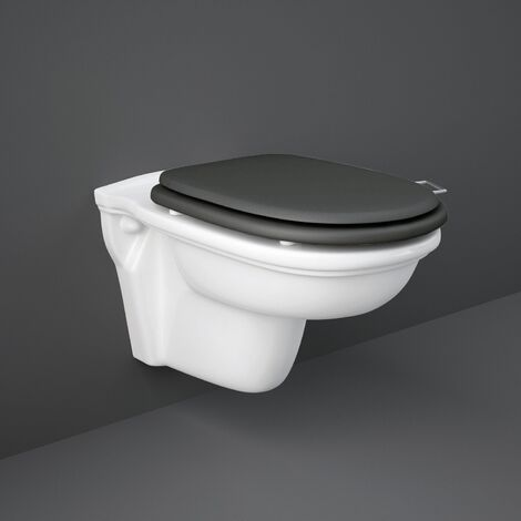 RAK Washington Rimless Wall Hung Toilet 560mm Projection - Black Soft Close Wood Seat