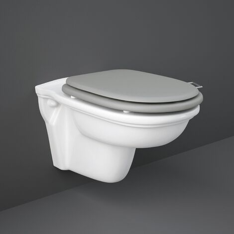 RAK Washington Rimless Wall Hung Toilet 560mm Projection - Grey Soft Close Wood Seat