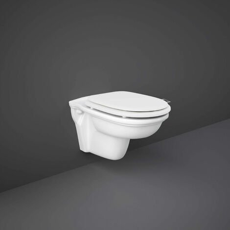 RAK Washington Rimless Wall Hung Toilet 560mm Projection - White Soft Close Wood Seat