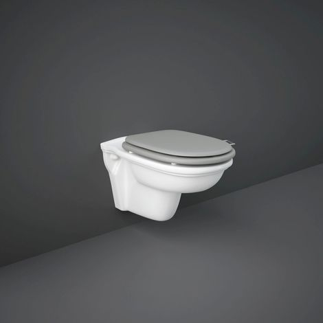 RAK Washington Rimless Wall Hung Toilet Pan With Matt Greige Wooden Soft Close Seat - WASWHPAN-RSC505