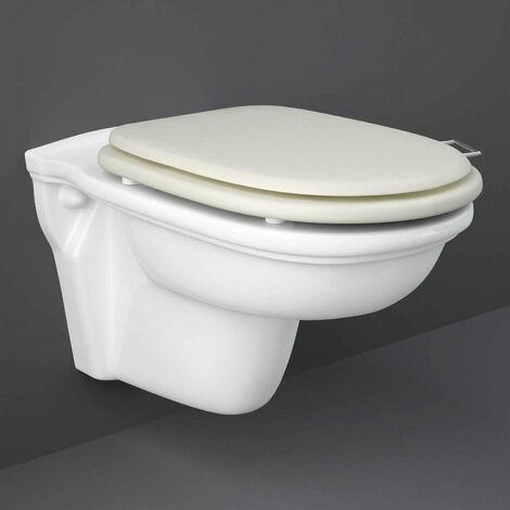 RAK Washington Wall Hung Toilet 560mm Projection - Greige Soft Close Wood Seat