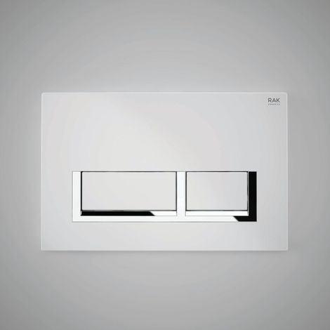 RAK White Flush Plate with Polished Chrome Rectangular Push Plates - FS04RAKWHRE8C
