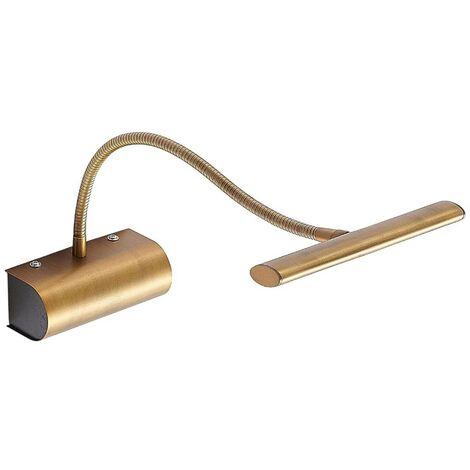 Rakel LED picture light flexible arm antique brass