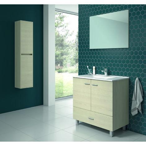 Raki Mueble de baño incluye lavabo ceramico 80 cms. 2 Puertas /1 Cajón. Taiga