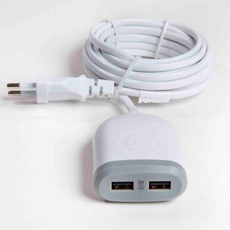 "main image of ""Rallonge 3m avec 2x USB 4,8A à charge ultra rapide - Blanc"""