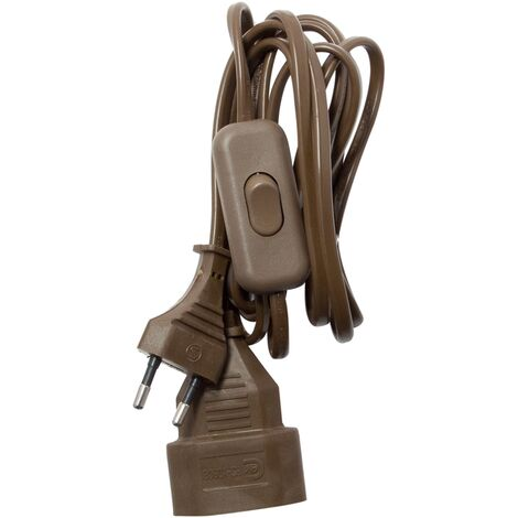 Rallonge Chacon H03VVH2F 2x0,75mm² + interrupteur 2,5A brun 2m