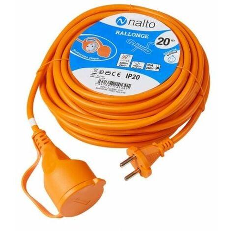Rallonge de Jardin 20 m Câble Orange 2G 1,5mm2 Avec Clapet de Protection NALTO
