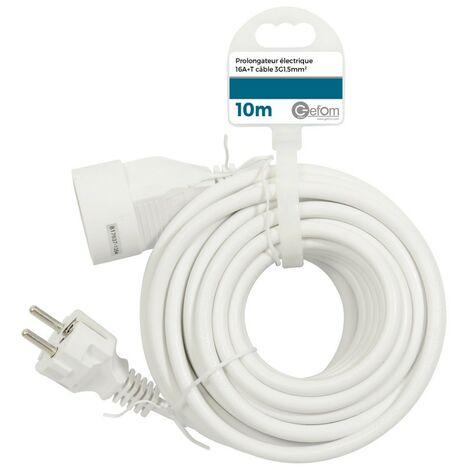 Rallonge électrique 10M Blanc - Blanc