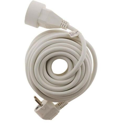 Rallonge électrique - 10m - H05VV-F 3G1.5mm² - Blanc - Zenitech