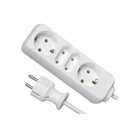 Rallonge électrique 2+2 prises- 1,4 m blanc (Par 15)