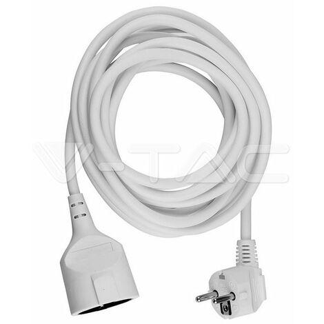 """main image of """"V-TAC VT-3001-5 Prolongateur rallonge électrique schuko 16A EU standard câble blanc 5m - sku 8779"""""""