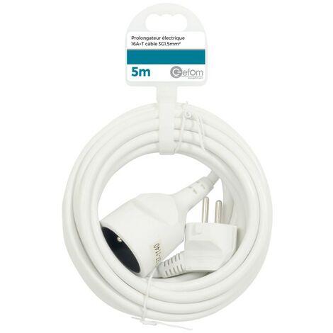 Rallonge électrique 5M Blanc - Blanc