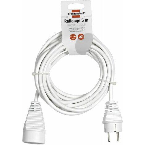 Rallonge électrique 5m de câble H05VV-F 3G1,5 (utilisation en intérieur)