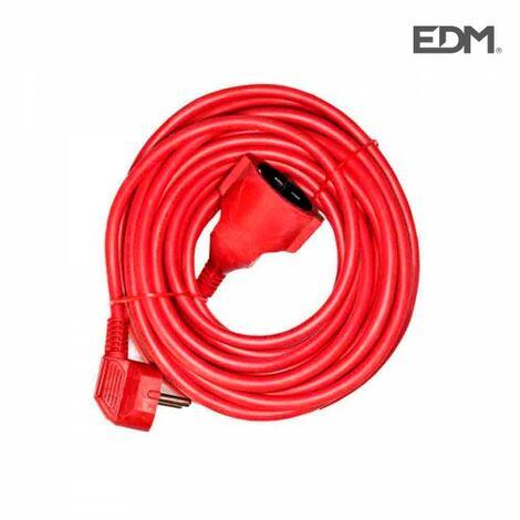 Rallonge électrique t/tl 10mts 3 x 1,5 flexible rouge edm