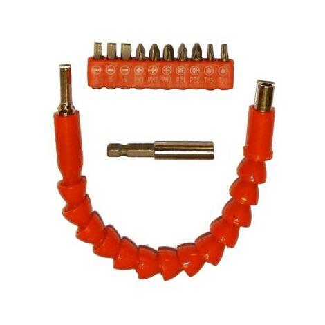 Rallonge flexible pour visseuse + 1 porte embouts et 10 embouts fournis