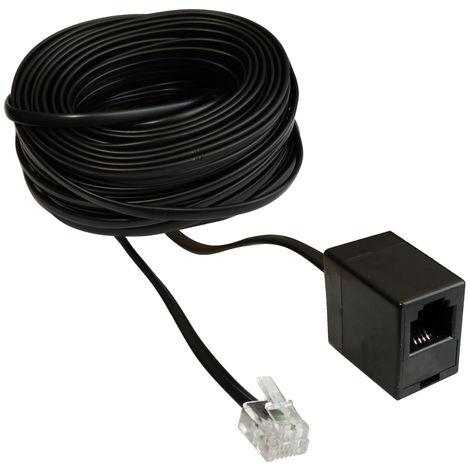 Rallonge mâle femelle 15m mètres fiche prise câble téléphone Internet ADSL modem RJ11 6p4c