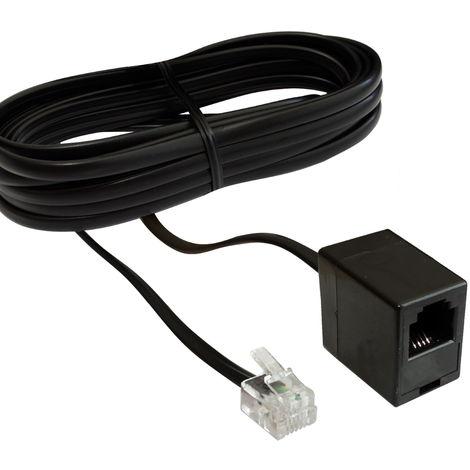 Rallonge mâle femelle 3m mètres fiche prise câble téléphone Internet ADSL modem RJ11 6p4c