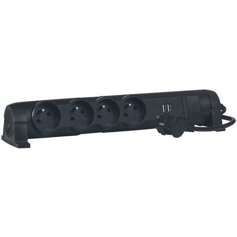 Rallonge multiprise - 4x2P+T - 16A - 230V + 2xUSB - 2,4A - Noir - Legrand
