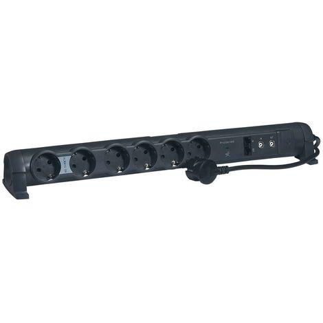 Rallonge multiprise 6x2P+T - 2xRJ45 - 2xTV - Cordon 1,5m - Noir - Legrand