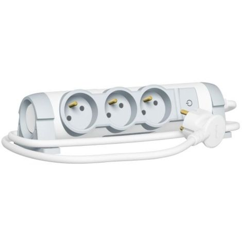 Rallonge multiprise confort bloc de prises rotatif 3x2P+T cordon 3 mètres