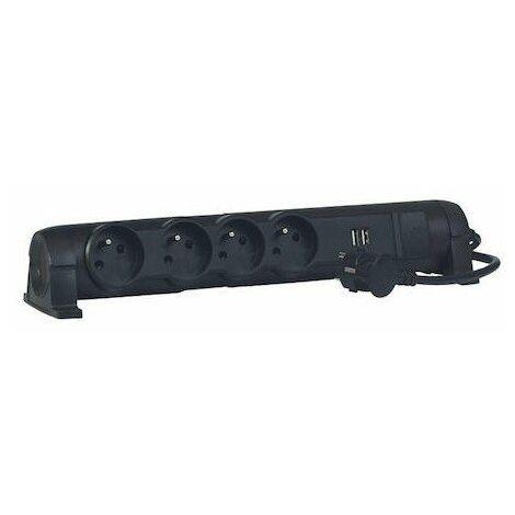 Rallonge multiprises confort et sécurité - Avec interrupteur - 4 prises - 2 USB - Noir