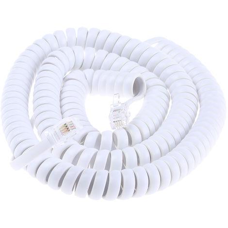 Rallonge téléphonique, Mâle RJ9 (4/4) / Mâle RJ9 (4/4), Blanc, 5m