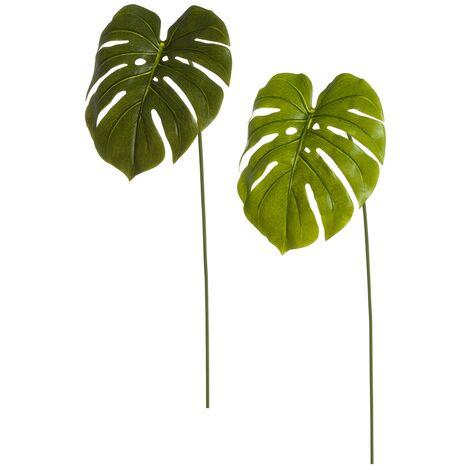 Rama artificial de monstera verde PVC de 73x22 cm. Compra mínima 4 unid