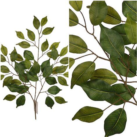 Rama de Ficus Hojas Artificial. Realista de Tela. 47 Cm