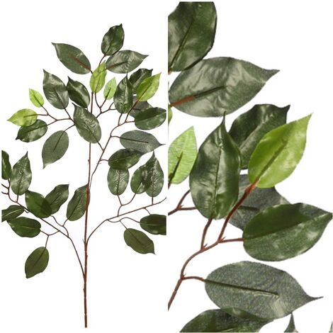 Rama de Hojas Ficus Artificial. Realista de Tela. 60 Cm
