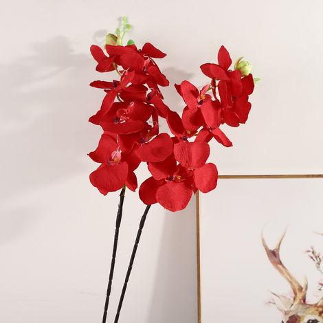 Ramas artificiales flores artificiales de navidad natural artificial follaje de las plantas salen de flores, de color rojo