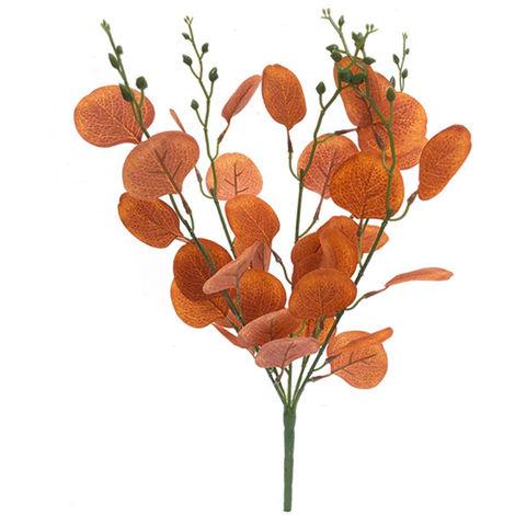 Ramas artificiales Natural Artificial follaje de las plantas salen flor, Rojo