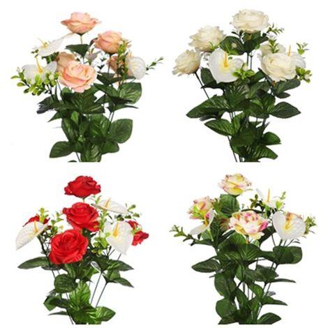 Ramo de Rosas y Anthurium Artificial. Realista de Tela. 42 Cm